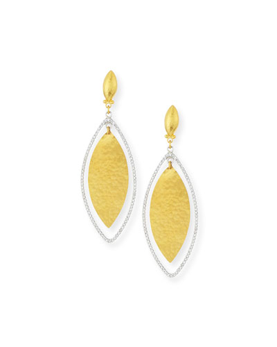Hoopla 24k Gold & Diamond Marquise Earrings