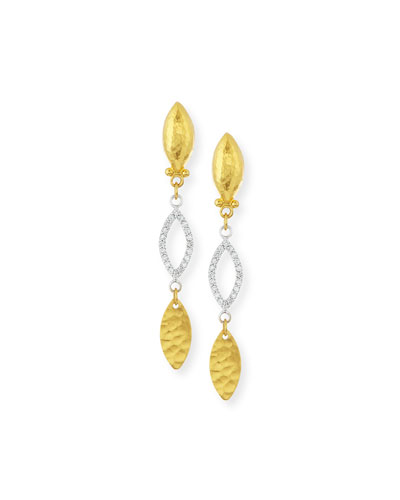 Willow 24k Gold & Diamond Triple-Drop Earrings