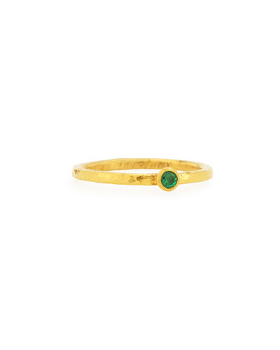 Skittle Emerald Stackable Ring, Size 6.5