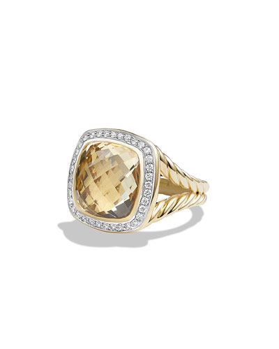 Albion Ring with Champagne Citrine and Diamonds in Gold, Size 6