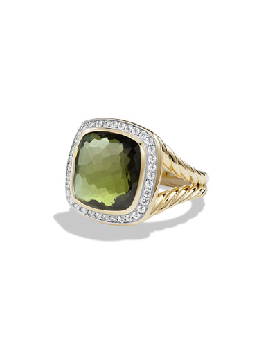 Albion Ring with Green Orchid and Diamonds in Gold, Size 7