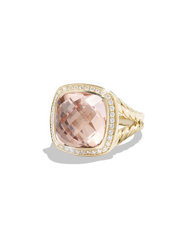 Albion Ring with Morganite and Diamonds in Gold, Size 6