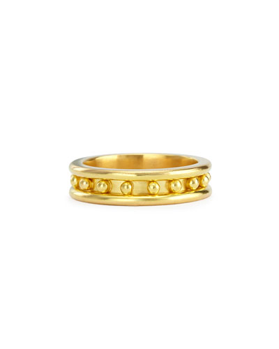 19k Gold Granulated Stack Ring, Size 6.25