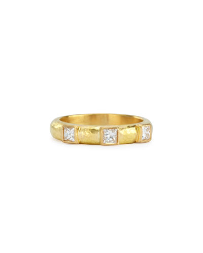 19k Gold & Square Diamond Stack Ring, Size 6.5