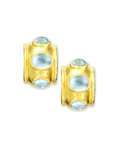 19k Gold Aquamarine Hoop Earrings