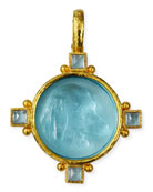 19k Gold Hound Head Intaglio Pendant with Aquamarine