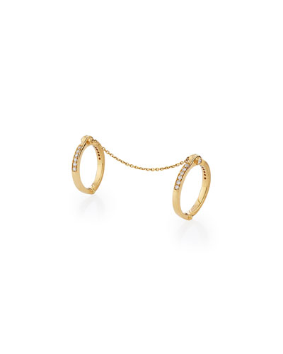 BORGIONI HANDCUFF CHAIN 18K GOLD & DIAMOND RING