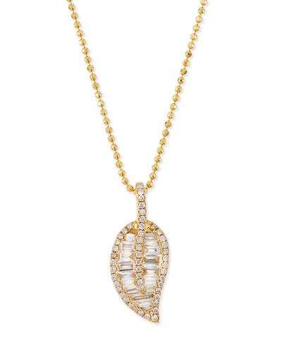 18k Gold Diamond Leaf Pendant Necklace