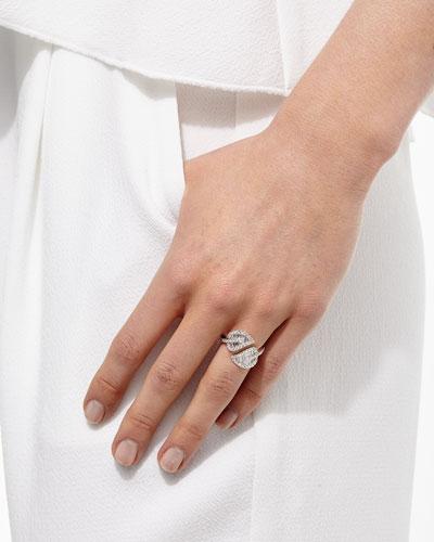 Leaf 18k White Gold & Diamond Wrap Ring