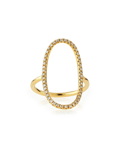 18k Gold Diamond Oval Ring, Size 6