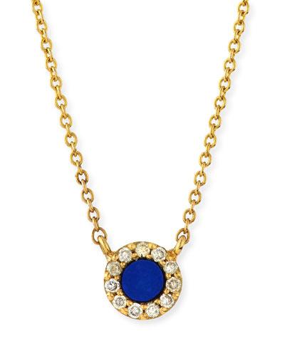 Lapis & Diamond Eye Pendant Necklace