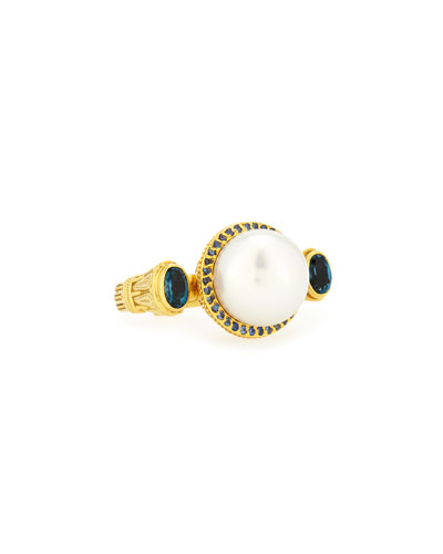 Flamenco 18k Gold Pearl & Blue Sapphire Ring, Size 7