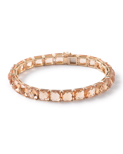 18k Gold Rock Citrine Tennis Bracelet in Candy Orange