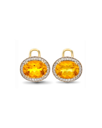 Oval Citrine & Diamond Earring Drops, 18k Yellow Gold