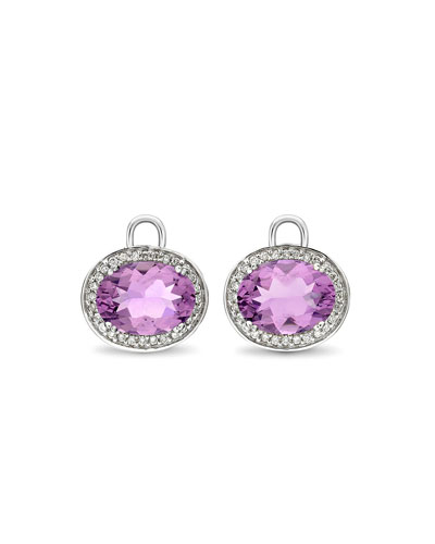 Oval Amethyst & Diamond Earring Drops, 18k White Gold