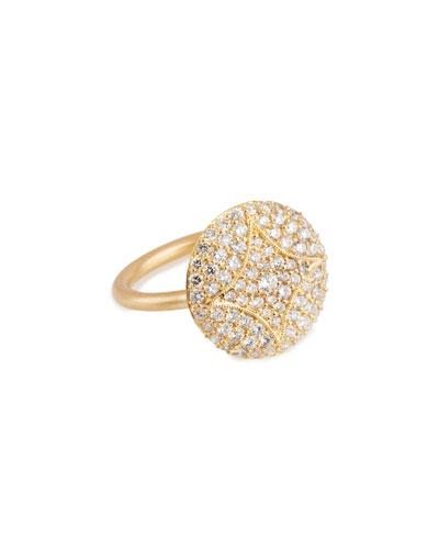 Aladdin 18k Pave Diamond Disc Ring, 5/8
