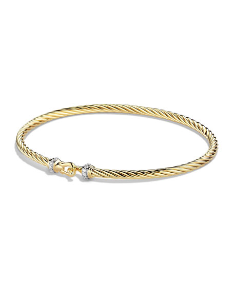 David Yurman Cable Collectibles Buckle Bracelet with Diamonds in Gold, Size M