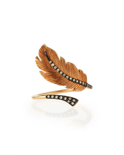 Rose-Gold Diamond Feather Ring