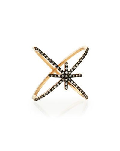 White Diamond Starburst Ring