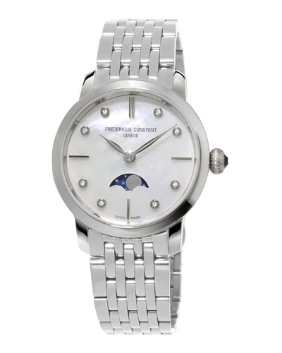 Ladies' Slimline Moonphase Stainless Watch