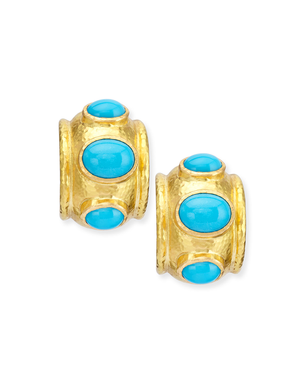 Turquoise Huggie Hoop Earrings