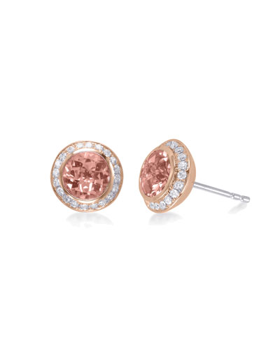 Mini Rosetta Morganite & Diamond Stud Earrings