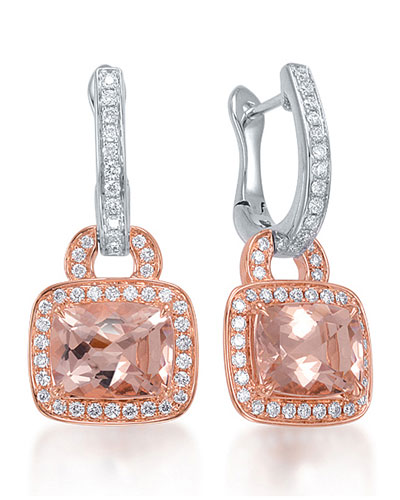 Roma Morganite & Diamond Drop Earrings
