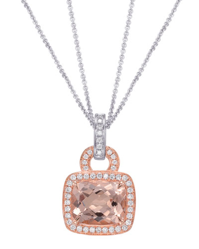 Roma Morganite & Diamond Pendant Necklace