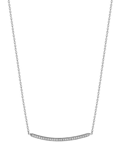 Curved Bar Diamond Pendant Necklace