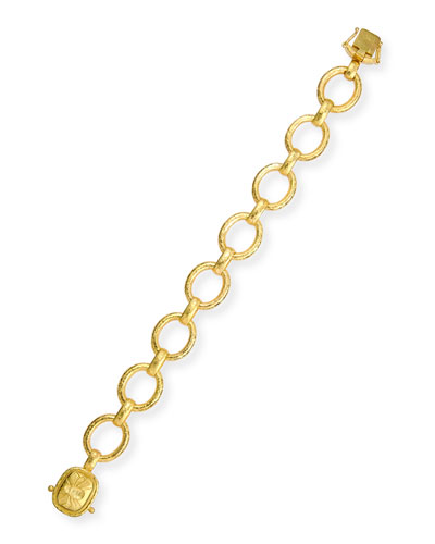 19k Gold Link Bracelet with Fat Bee Clasp