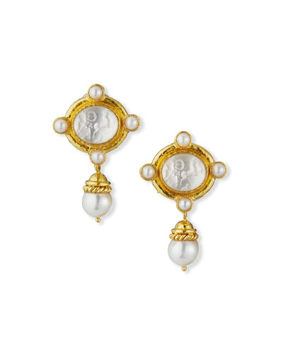 ELIZABETH LOCKE CABOCHON QUADRIGA PEARL DROP EARRINGS