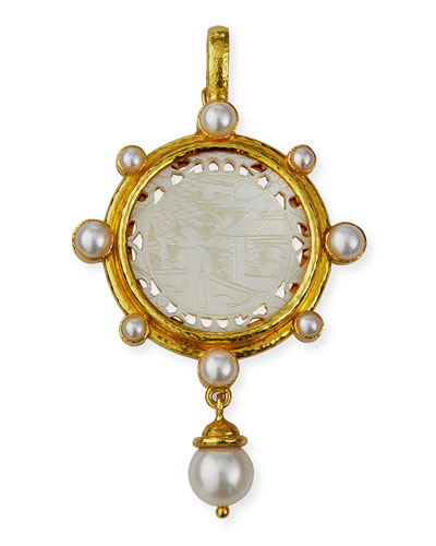 Elizabeth Locke Granulated 14mm South Sea Pearl Pendant FxshDlj