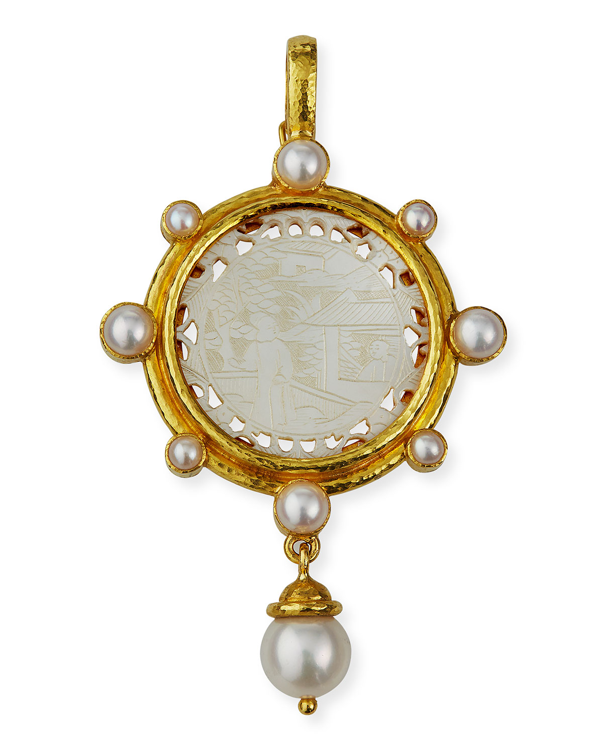 Rare Chinese Gaming Counter Pearl Pendant