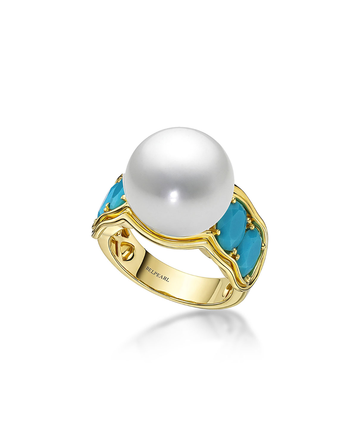 BELPEARL Aura South Sea Pearl & Turquoise Ring