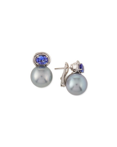 Aura Tahitian Gray Pearl & Tanzanite Earrings