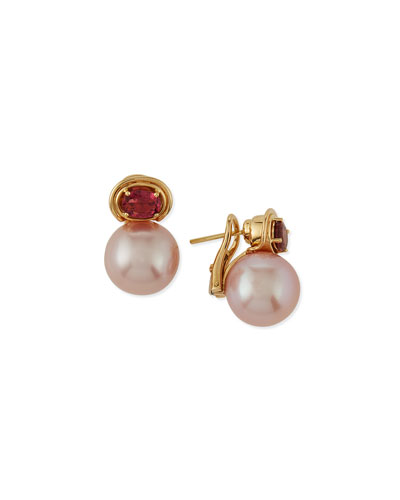 Aura Kasumiga Pearl & Pink Tourmaline Earrings