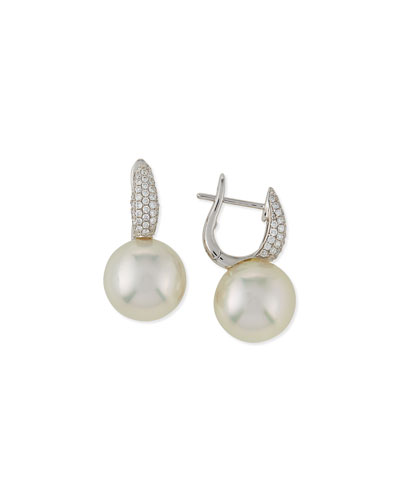 Slim South Sea Pearl & Diamond Earrings