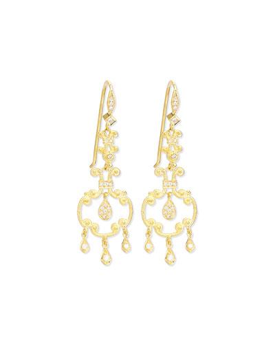 ELI JEWELS Aegean Collection 18K Diamond Open-Drop Earrings