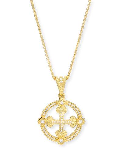 ELI JEWELS Aegean Diamond Round Cross Pendant Necklace