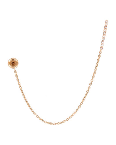 Lumiere White Diamond Stud & Chain Earring