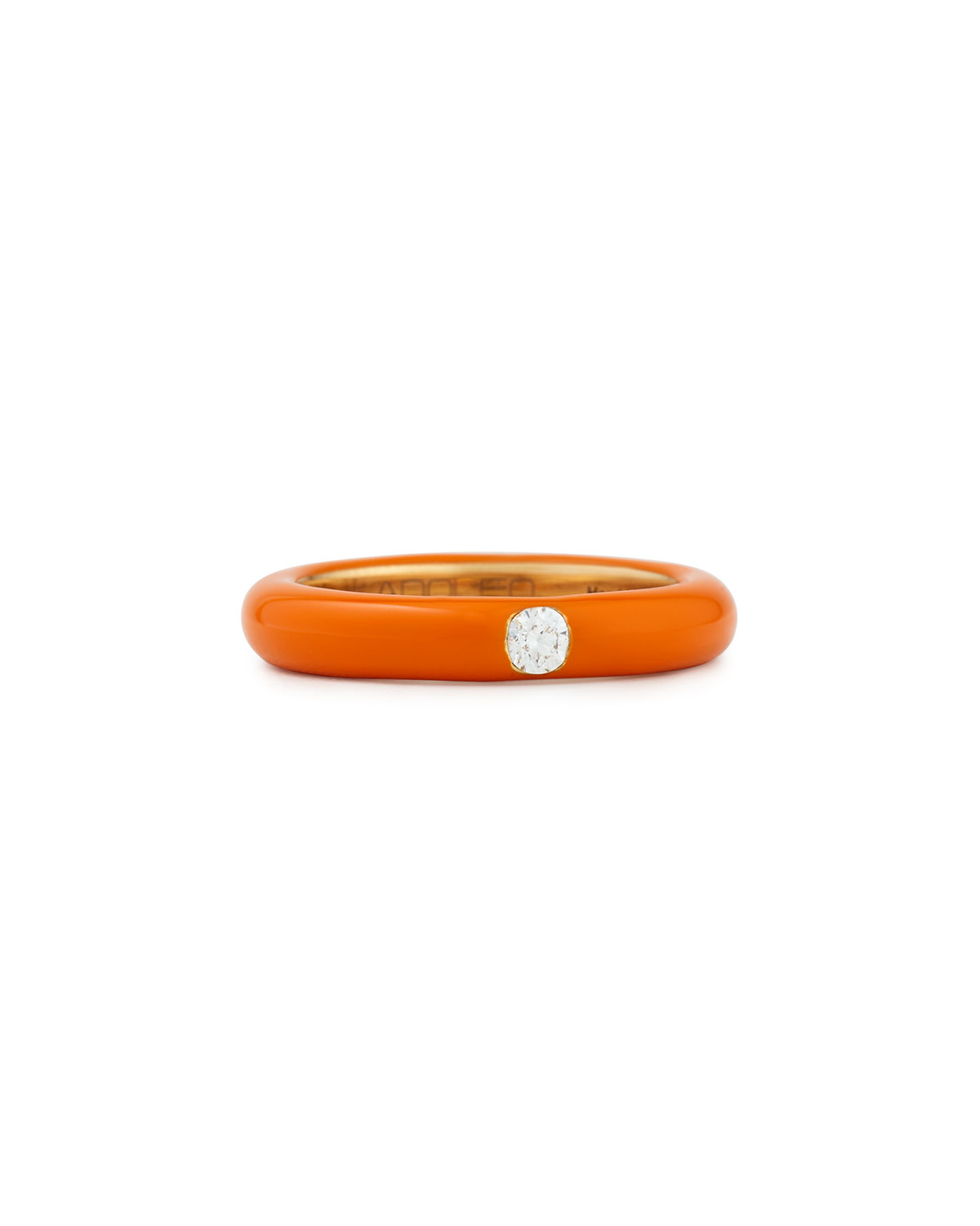 ADOLFO COURRIER Pop Orange Enamel Band Ring With Diamond