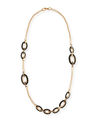 Tango 18k Rose Gold Black Diamond Link Necklace