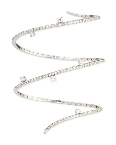 18k White Gold Diamond Snake Bracelet