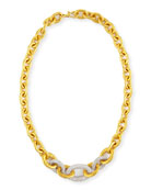 24k Tapered Galahad Necklace with Diamonds