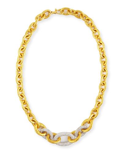 24k Tapered Galahad Necklace with Diamonds