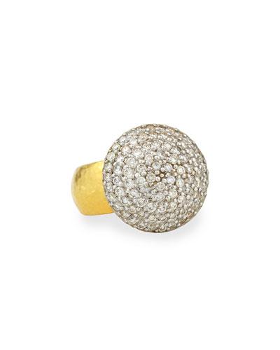 24k Gold Lentil Ice Diamond Cocktail Ring, Size 6.5