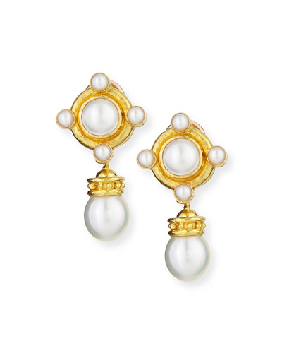 19k Pearl Earrings with Detachable Drop