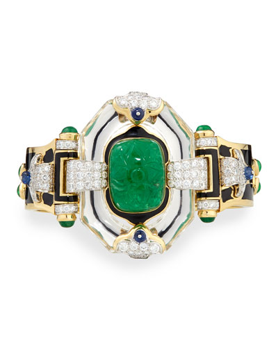 Emerald, Sapphire and Diamond 18k Gold Bracelet