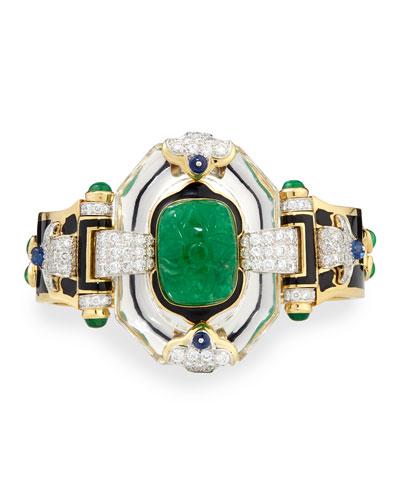 Emerald, Sapphire and Diamond 18k Gold Bracelet