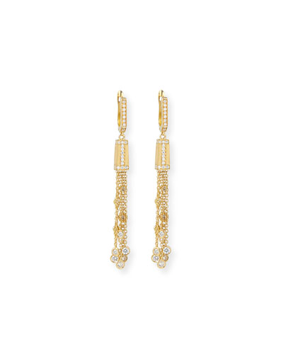 18k Modern Tassel Earrings with Diamonds